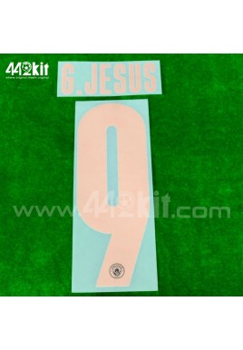OFFICIAL G.JESUS #9 Manchester City FC Away UCL CUP 2020-21 PRINT