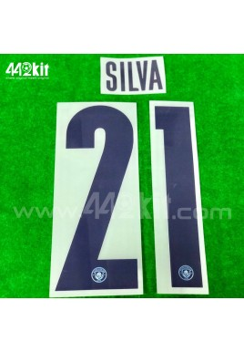 OFFICIAL SILVA #21 Manchester City FC Home UCL CUP 2020-21 PRINT