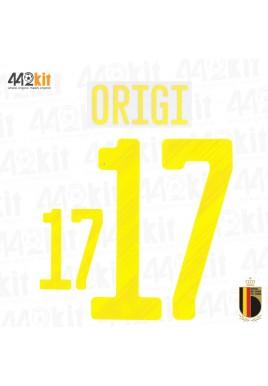 Official ORIGI #17 Belgium RBFA HOME EURO 2020 2020-21 PRINT
