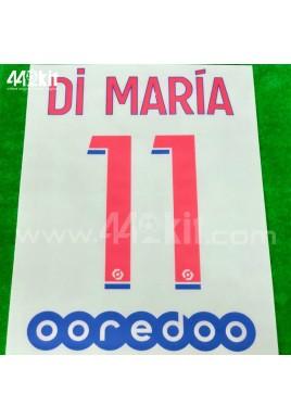 Official DI MARIA #11 + OOREDOO PSG Away Ligue 1 2020-21 PRINT