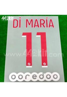 Official DI MARIA #11 + OOREDOO PSG Home Ligue 1 2020-21 PRINT