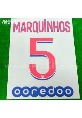 Official MARQUINHOS #5 + OOREDOO PSG Away Ligue 1 2020-21 PRINT