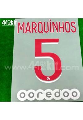 Official MARQUINHOS #5 + OOREDOO PSG Home Ligue 1 2020-21 PRINT