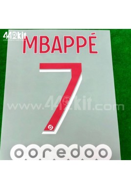 Official MBAPPE #7 + OOREDOO PSG Home Ligue 1 2020-21 PRINT