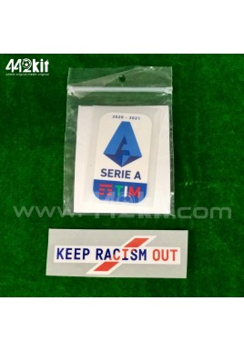 Official Italian Calcio SERIE A TIM Player Size 2020-21 + KEEP RACISM OUT Sleeve Patches
