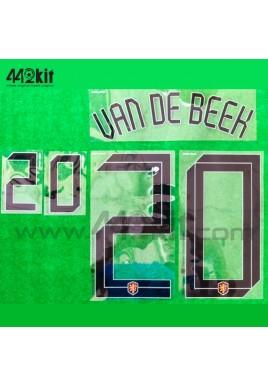 Official VAN DE BEEK #20 NETHERLANDS KNVB Home 2020-21 PRINT